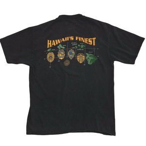 Vtg Hawaii's Finest Police Badge Double Sided Tee